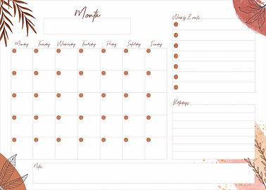 Terracotta Monthly Planner - Printable