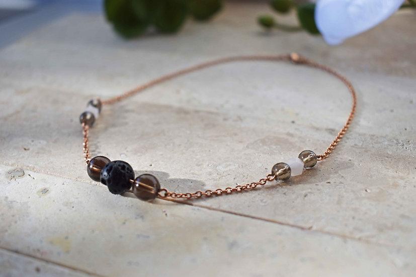 smokey quartz, rose quartz, lava and rose gold stainless steel aromatherapy necklace