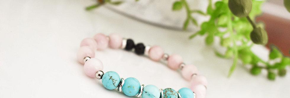 mama- kunzite, turquoise magnesite and lava bracelet