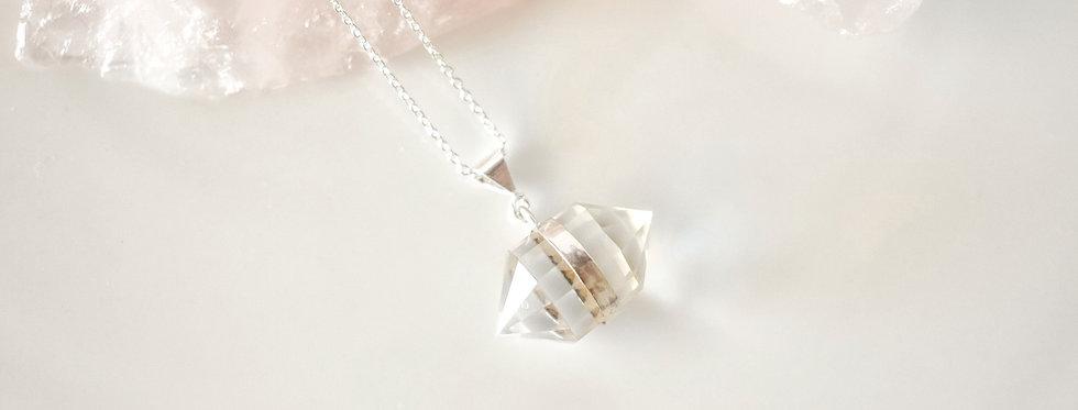 double terminated clear quartz pendant sterling silver