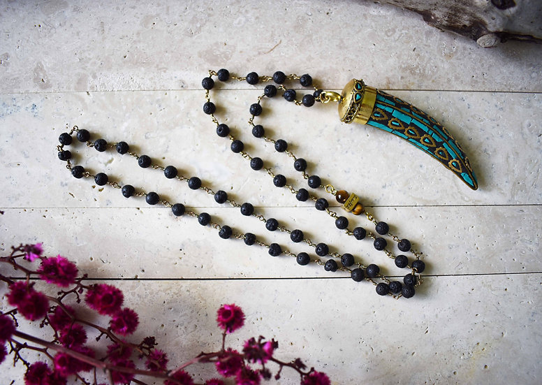 lava, tigers eye and nepalese turquoise horn aromatherapy necklace