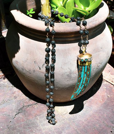 Turquoise, Lava & Tigers Eye Aromatherapy Necklace