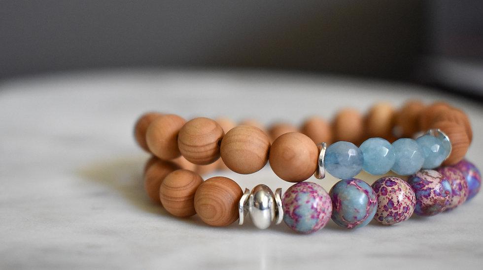 cypress wood aromatic bead bracelet with galaxy jasper, aquamarine, aromatherapy