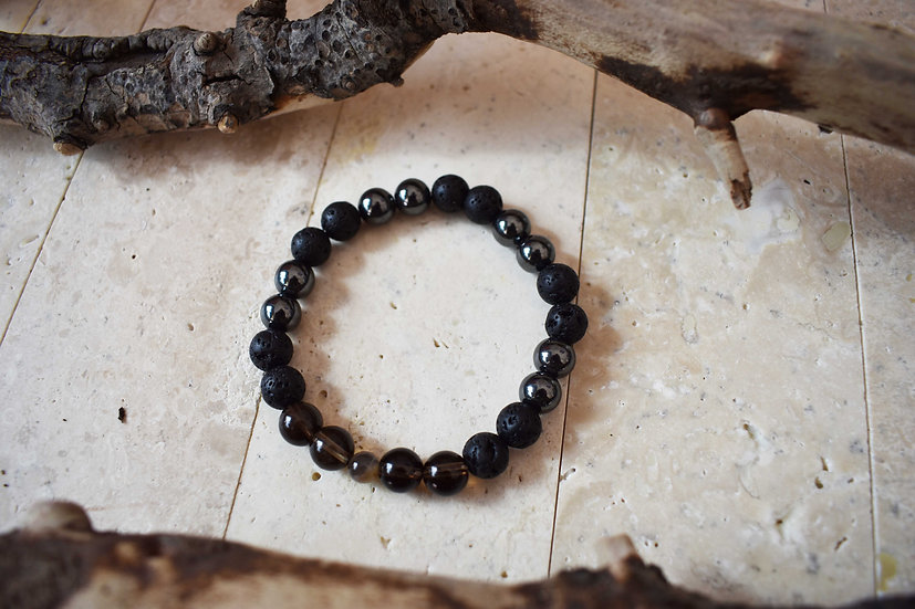 dark knight, hematite, moonstone, smokey quartz and lava aromatherapy diffuser bracelet