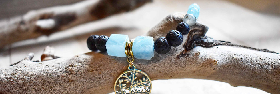 march birthstone bracelet, aquamarine, bloodstone, diffuser bracelet