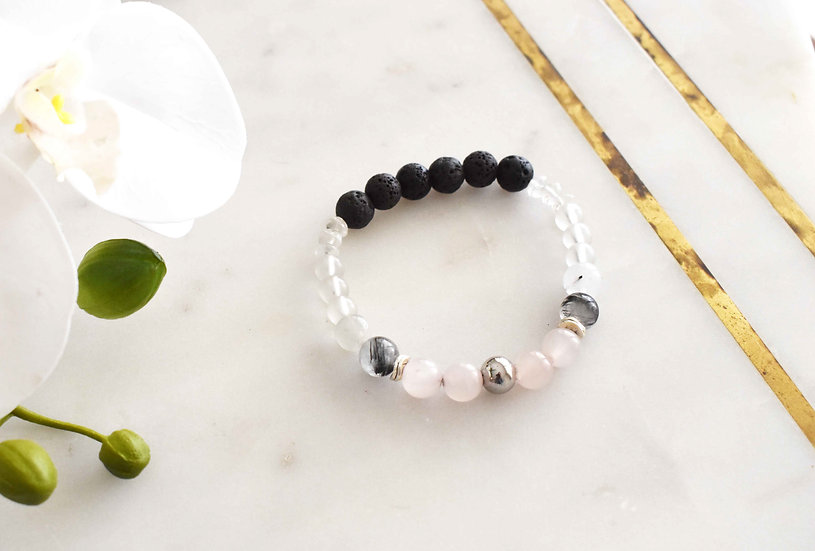 april birthstone bracelet, aromatherapy diffuser, quartz, rose quartz