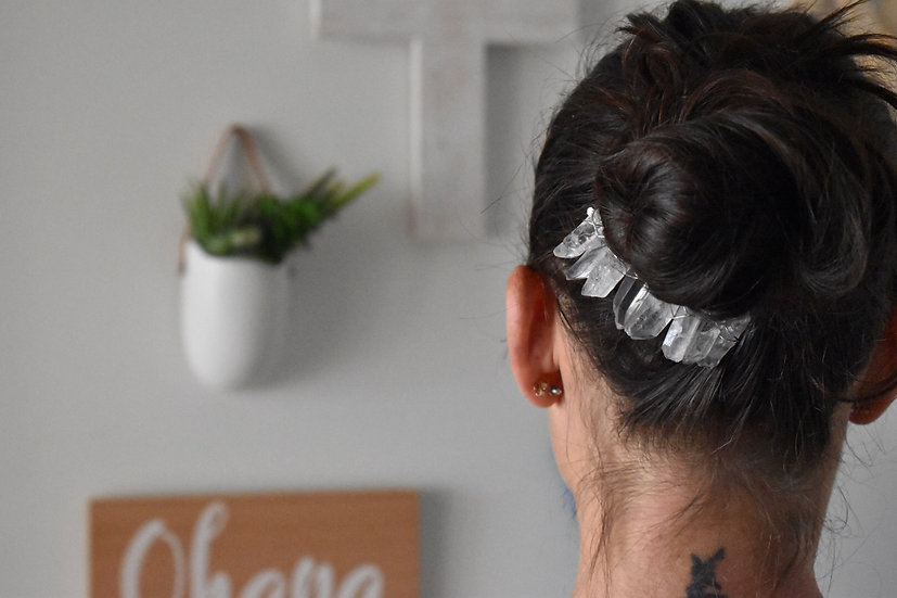 Crystal Quartz Gemstone Hair Comb