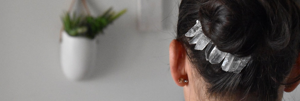 Crystal Quartz Gemstone Hair Comb