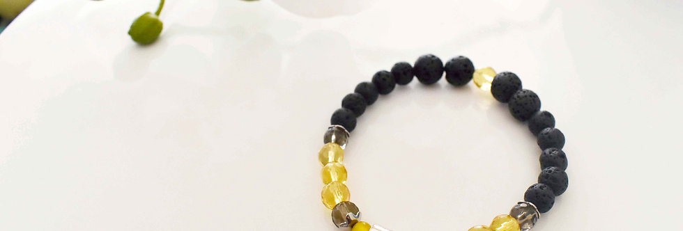november birthstone essential oil bracelet. topaz and citrine