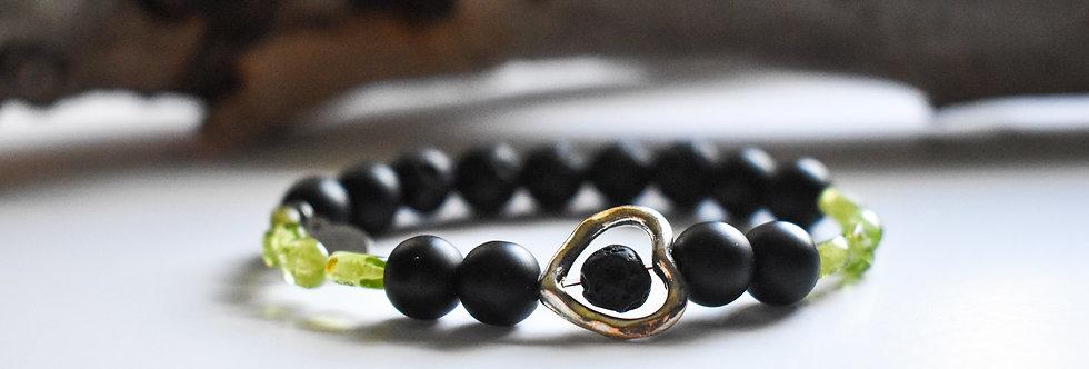 August Birthstone Bracelet - Peridot and Onyx