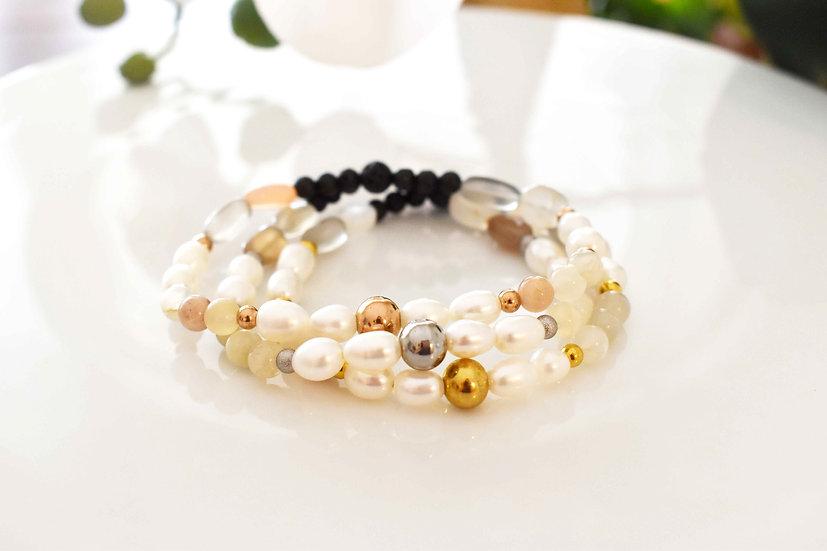 june birthstone bracelet, aromatherapy diffuser, pearl, moonstone