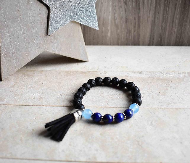 lapis lazuli, aquamarine and lava essential oil gemstone bracelet