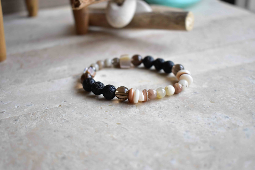 gypsy soul, moonstone, lava, smokey quartz, shell, diffuser bracelet