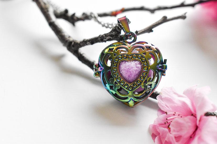 heart shaped rainbow pendant essential oil diffuser