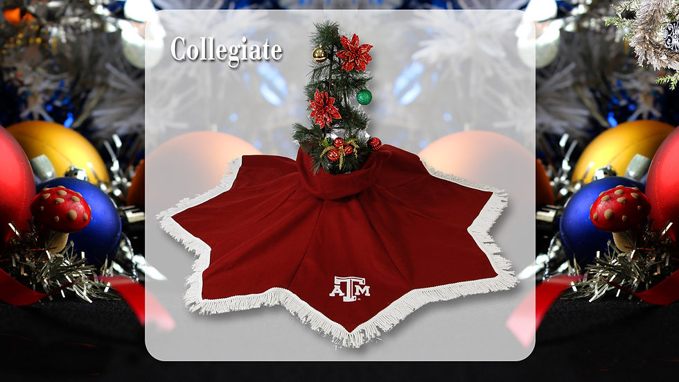 Texas A&M Maroon Tree Skirt (Texas A&M Crafter's  License Renewal Pending)