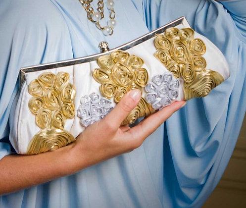 Gold & Silver Flower Clutch