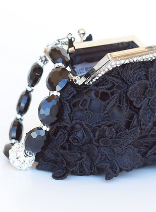 Black Lace Clutch