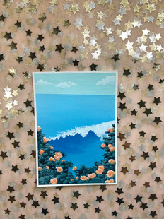 Orange flowers and the Ocean