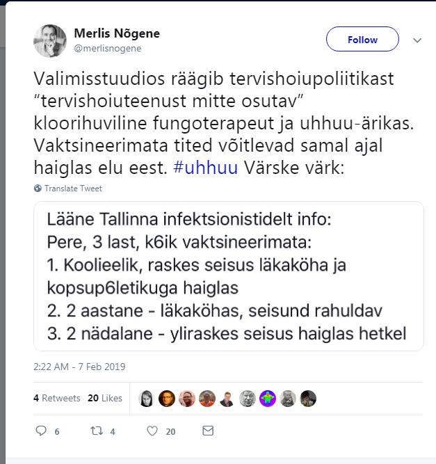 """Merlis Nõgene: Lääne Tallinna infektsionistidelt info: """"Pere, 3 last, kõik vaktsineerimata. 1. koolieelik – raskes seisus läkaköha ja kopsupõletikuga haiglas. 2. 2- aastane, seisund rahuldav. 3. 2-nädalane – üliraskes seisundis haiglas hetkel."""""""