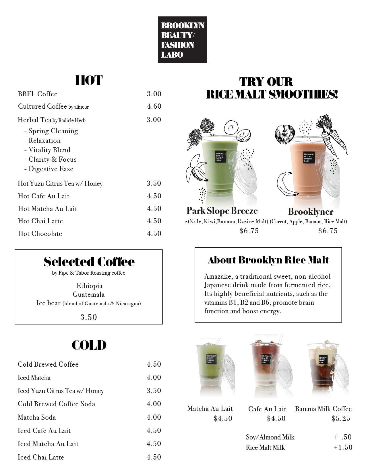BBFL CAFE menu