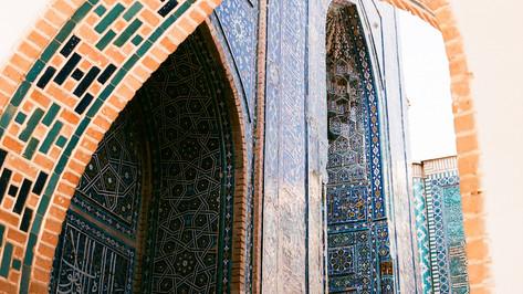 Blue tiles of Shah-i-Zinda on film Samarkand Uzbekistan