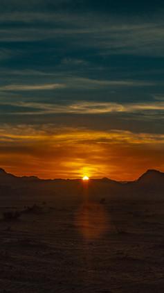 Sunset over Wadi rum