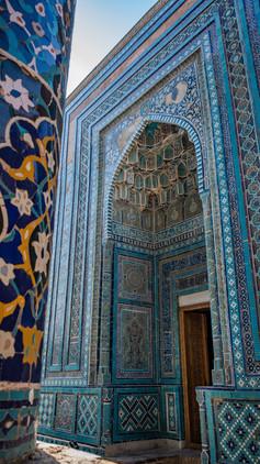 Stunning blue tiles within the Shah-I-Zinda (mausoleum avenue), Samarkand, Uzbekistan