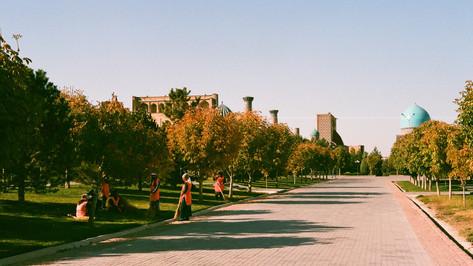 Walking to the Registan Bukhara Uzbekistan