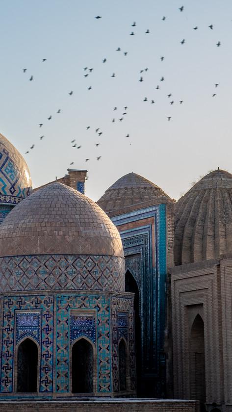 Blue tiled roos of the Shah-I-Zinda (mausoleum avenue), Samarkand, Uzbekistan