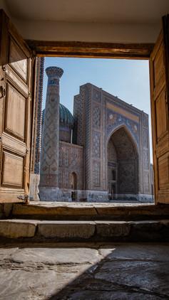 Through the doors of The Registan, Uzbekistan, Samarkand