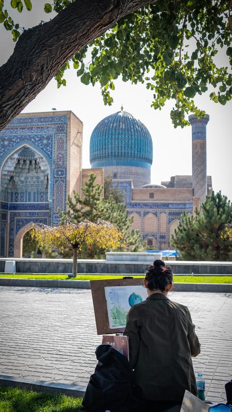 Gur-e Amir (Tamerlane's mausoleum), Artists impression, Bukhara, Uzbekistan