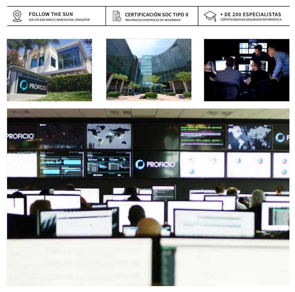 Nuestro servicio de ProSOC proporciona seguridad 24x7, follow the sun con tres SOC a nivel mundial (San Diego, Barcelona y Singapur), contamos con mas de 200 especialistas certificados en seguridad informática. El servicio llega a México, Panamá y Colombia