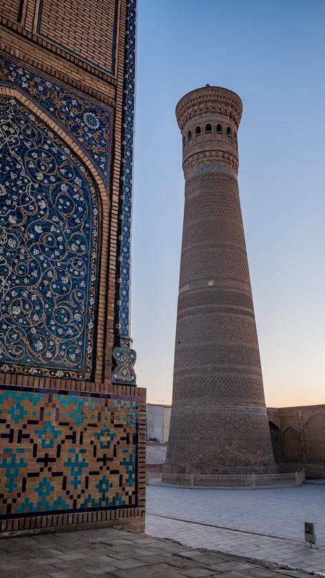 Sunset Great Minaret of the Kalon, Bukhara, Uzbekistan