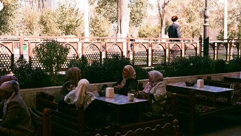 Ladies enjoying lunch Bukhara Uzbekistan