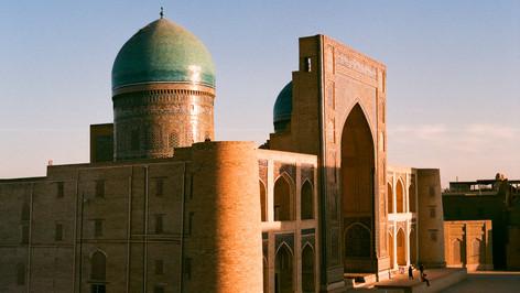 Sunset on Mir-i Arab Madrasah Bukhara Uzbekistan