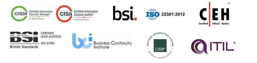 Certificaciones: CISM, BSI, CEH, ITIL, CISSP, BSI, CISA AUDITOR, CISA SECURITY MANAGER, ISO22301:2012, Panama