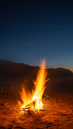 Fire in the desert, Wadi Rum, Jordan