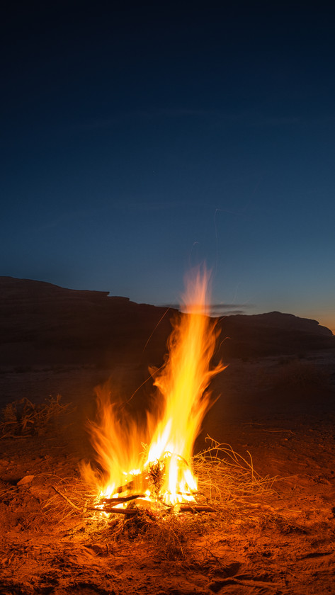 Fire in the desert, Wadi Rum, Jordan