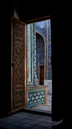 Beautiful blue tiles Shah-I-Zinda (mausoleum avenue) - Samarkand