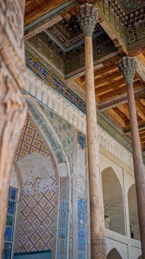 The roof of the Bolo Hauz Mosque, Bukhara, Uzbekistan