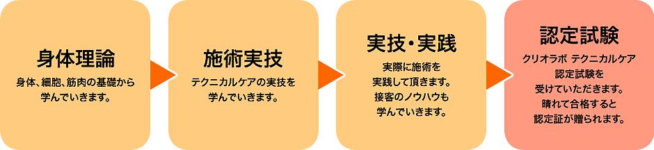 身体理論→施術実技→実技・実践→認定試験