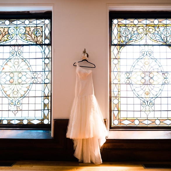 Dress hanging in the sanctuary