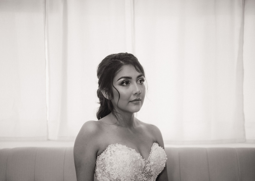 Quiet moments before the walk down the aisle
