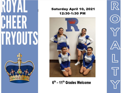 6th - 11th Invited - Royal Cheer Tryouts!