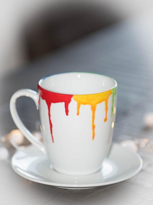 Tasse bemalt Handmade Farbpalette