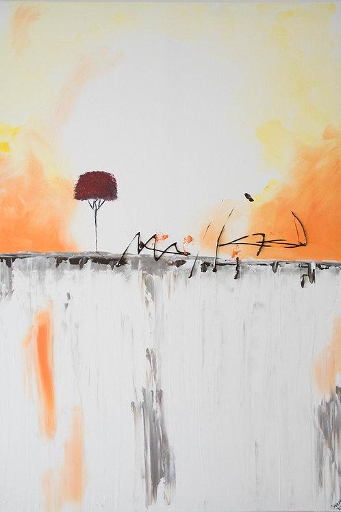 Acrylbild Baum rot orange braun