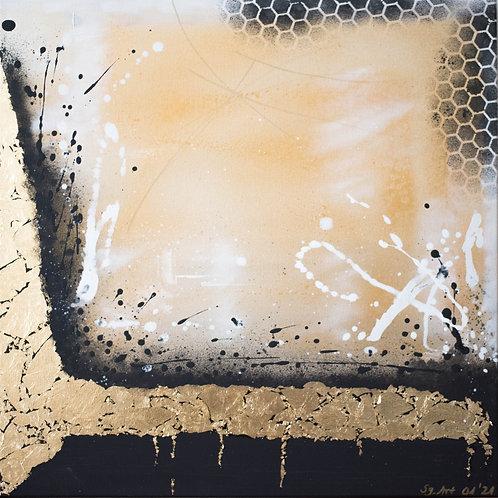 Acrylbild Blattgold schwarz abstrakt