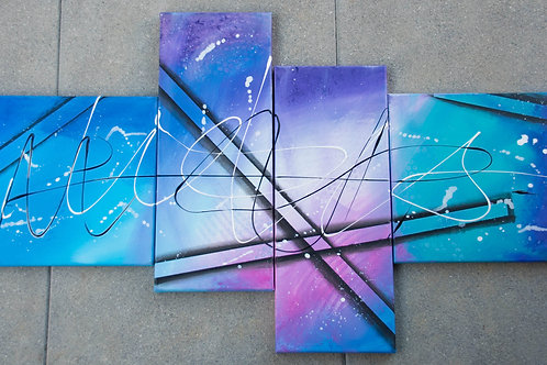 4-teiliges Acrylbild abstrakt Galaxy bunt