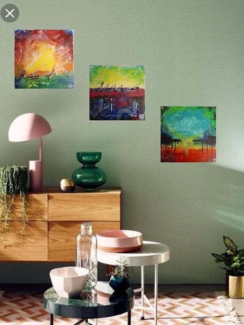3-teiliges Acrylbild abstrakt Farbexplosion bunt