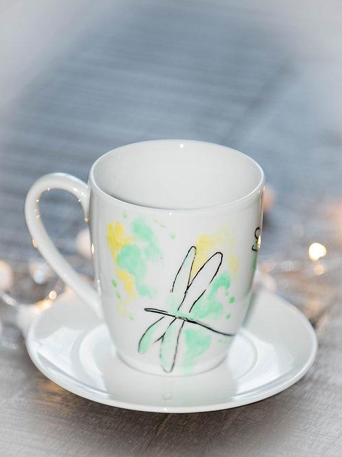 Tasse bemalt Handmade Libelle